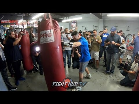 BRANDON RIOS LOOKING IN TREMENDOUS SHAPE POUNDING THE HEAVY BAG ONE WEEK FROM GARCIA FIGHT