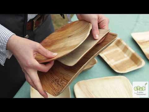 Disposable Palm Leaf Plates and Bowls Tableware Demonstration by Good Start Packaging
