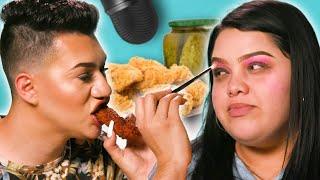 Spicy Mukbang ASMR Makeup Tutorial (YouTube Challenge Mashup lol) w/ Karina Garcia & Peter Bread