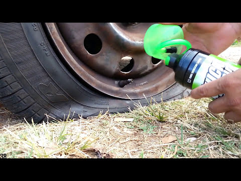 Roadside flat tire fix on the spot - I use Quick Spair Inflator Sealer