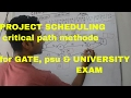 project scheduling in hindi/critical path methode