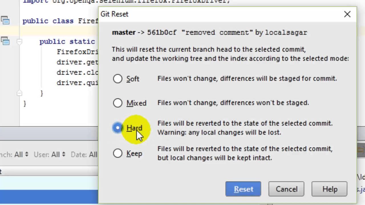 How to delete a commit in git in Intellij IDEA