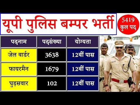 UP Police Bharti 2018 Jail Warder, Fireman & Horse Rider 5419 Vacancy