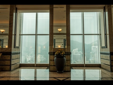 Central Plaza Sky Lobby observation deck view of Hong Kong