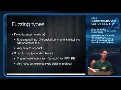 CodenomiCON 2010 - Charlie Miller - part #1 - An Analysis of Fuzzing 4 Products with five lines...