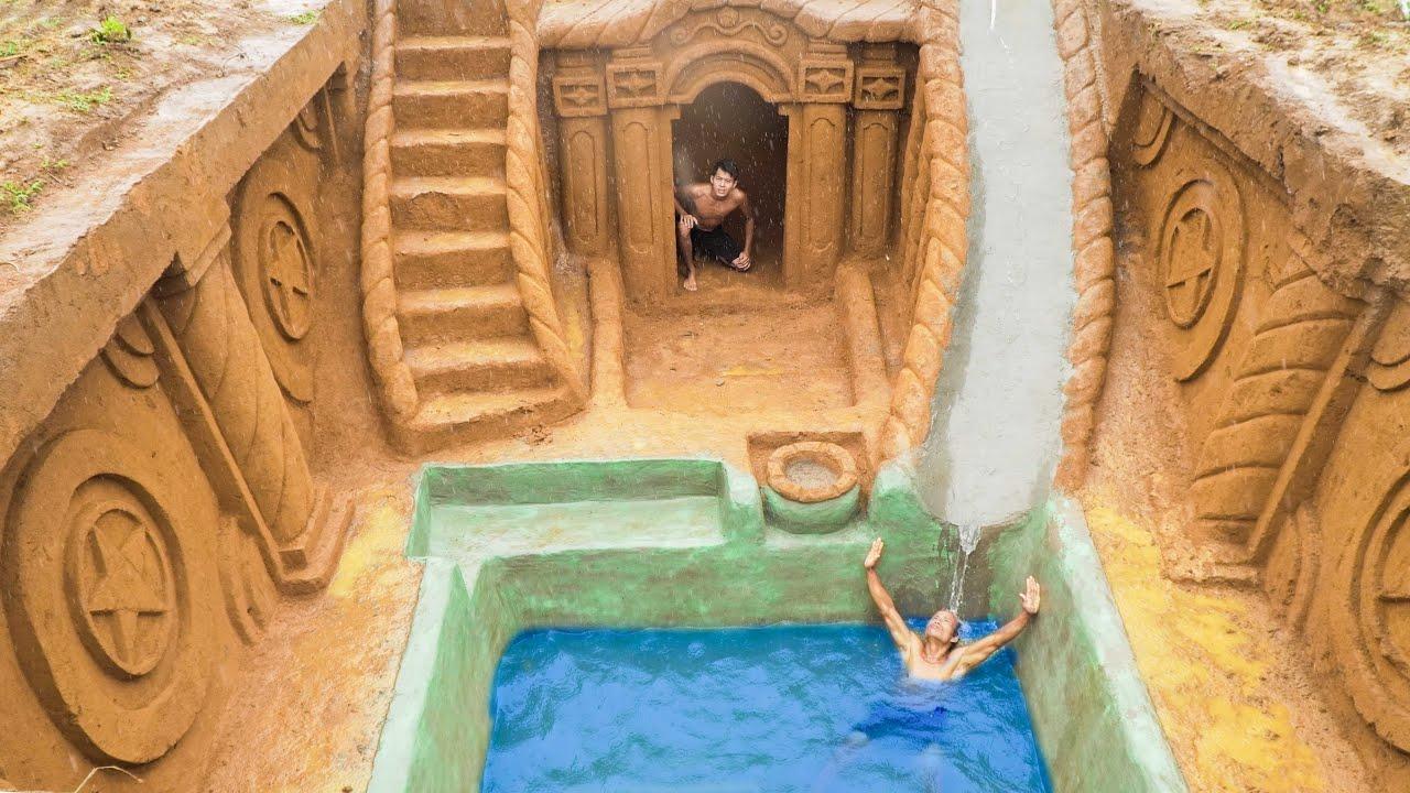 Unbelievable! Build Swimming Pool Water Slide Around The Secret Underground House