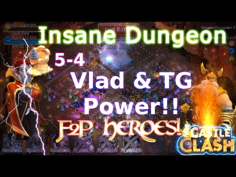 Castle Clash Insane Dungeon 5-4_ Vlad & TG Power_F2P Account