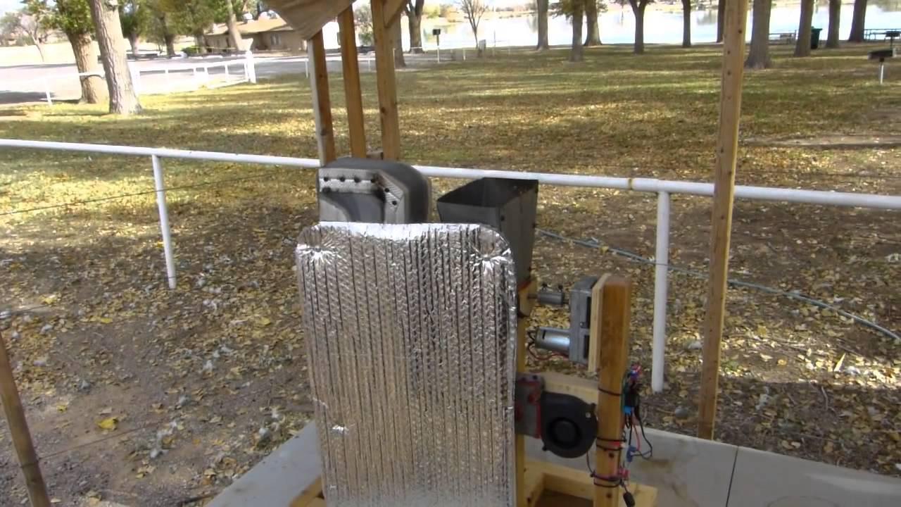Homemade 12 volt Pellet Stove 1st Automation Test