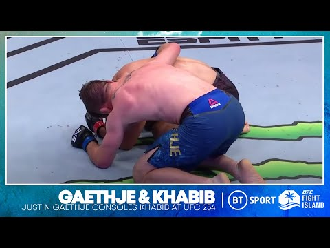 Amazing moment of respect! Justin Gaethje consoles emotional Khabib Nurmagomedov | UFC 254