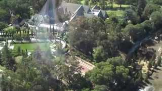 RAW Uncut Helicopter footage flying over Greystone Manor & The Knoll in Beverly Hills, Real Estate.