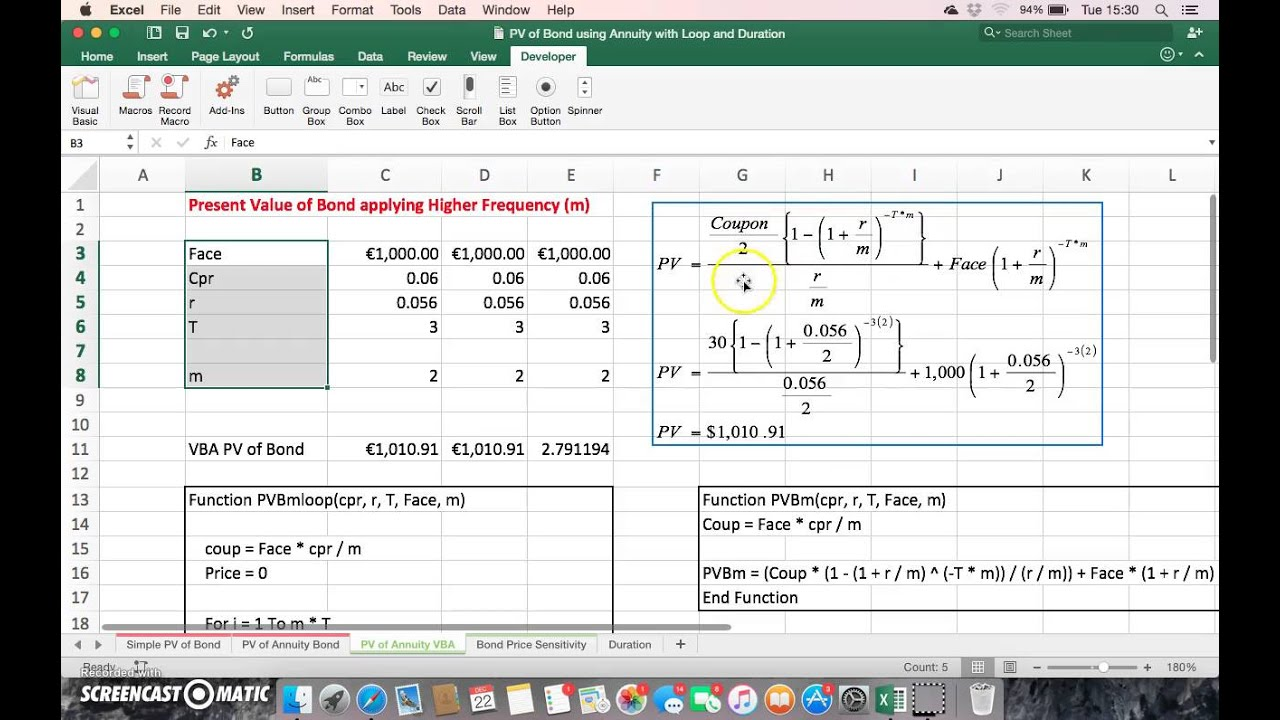 Estimating The Present Value Of A Bond Using A Vba Loop