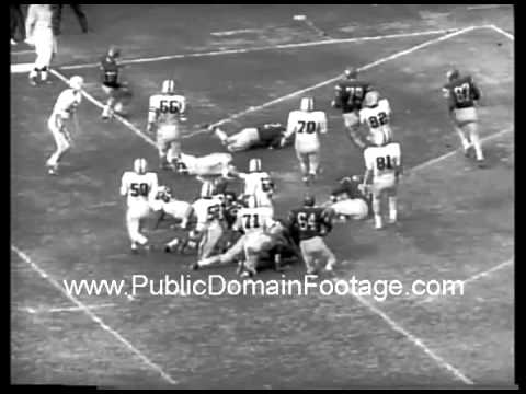 1961 College Football Iowa beats USC Southern California archival public domain newsreel