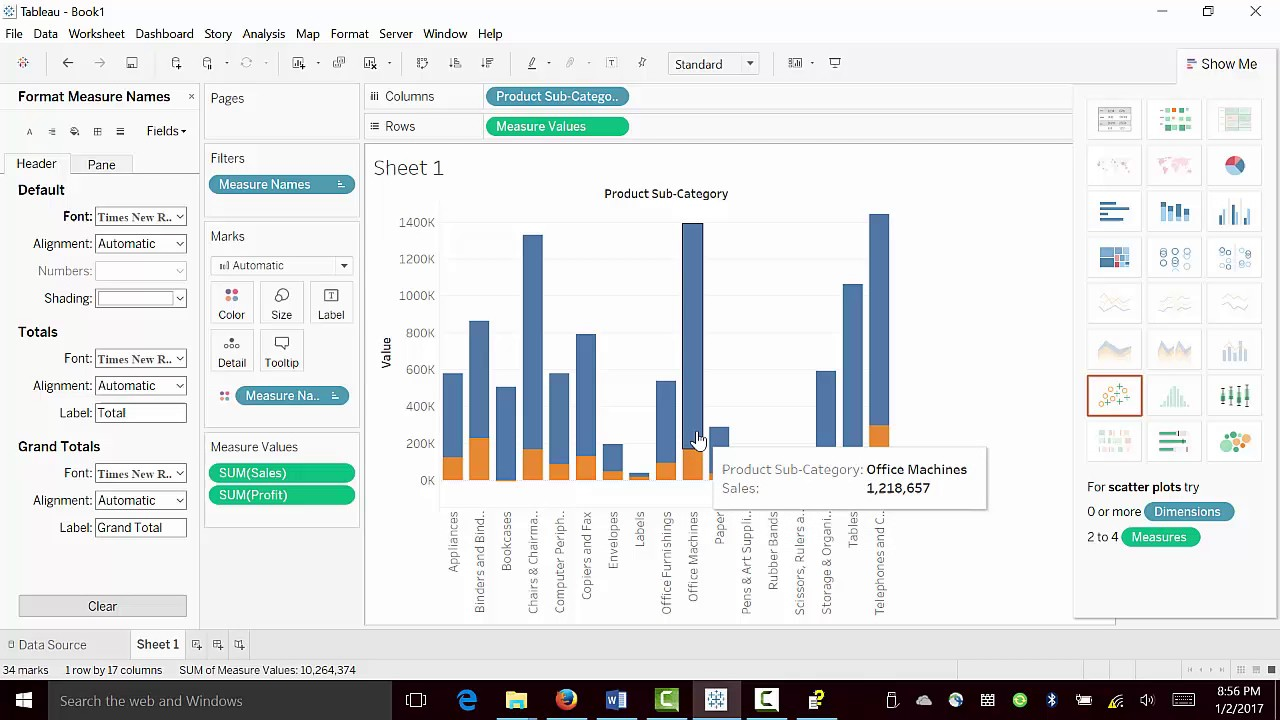 Data Visualization with Tableau -- How to create Stacked Bar chart