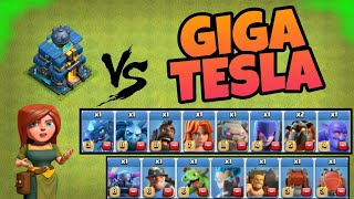 MAX GIGA TESLA VS ALL NEW MAX LEVEL TROOPS IN COC