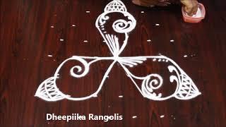 sravana sukravaram muggulu designs with 7 dots * lotus shanku kolam * simple rangoli