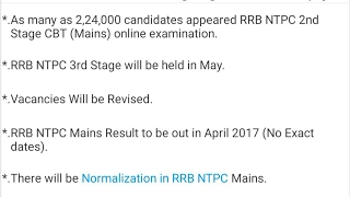 RTI Reply on RRB NTPC Post Preference, Result, Vacancy Details   Mains   Stage 2   Railway   2017 Video