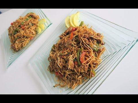 recette-99:-nouilles-chinoises-sautées-au-bœuf-&-aux-poivrons-/-beef-&-veg-stir-fry-noodles