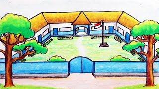 Cara Menggambar Gedung Sekolah Dengan Oil Pastels untuk Pemula