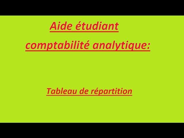 Comptabilite Analytique Tableau De Repartition Youtube