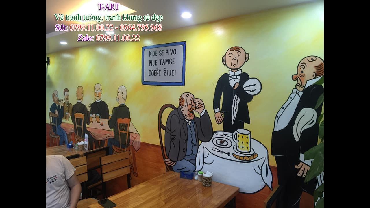 Vẽ tranh tường quán bia, quán Cafe ở Tây Hồ, Hà Nội