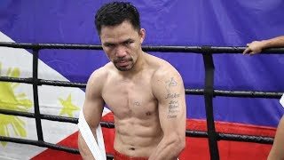 MANNY PACQUIAO IN FIGHT MODE, DEAD SERIOUS FLEXING AFTER TRAINING FOR THURMAN
