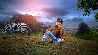 Picsart adventure of mountains with zebra photo manipulation picsart tutorial