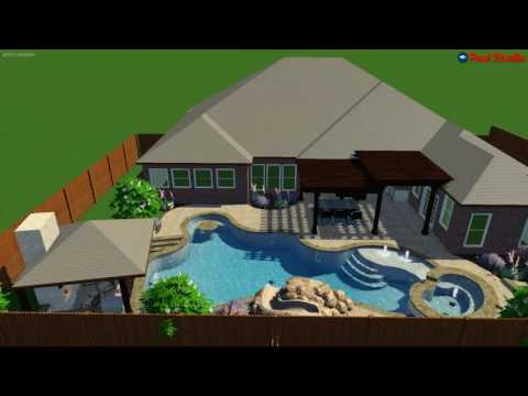 Freeform pool with swim up bar, in pool table and grotto/water slide