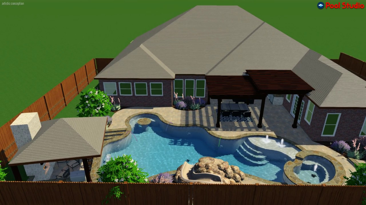 Freeform Pool With Swim Up Bar In Table And Grotto Water Slide