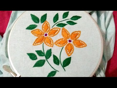 Hand Embroidery Straight Stitch And Chain Stitch Combination Youtube