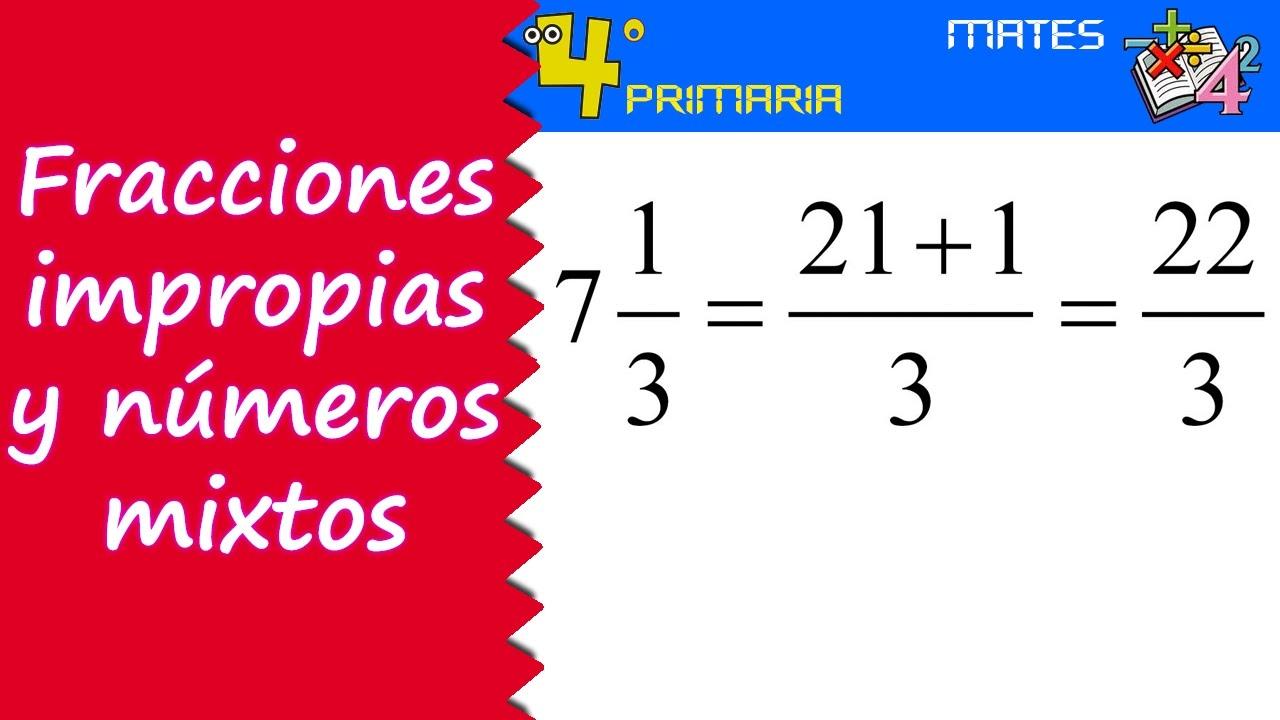 Matemáticas. 4º Primaria. Tema 11. Números mixtos y fracciones ...