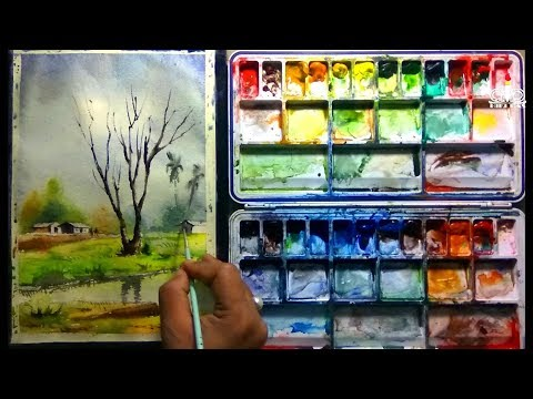 How to paint a simple village landscape tutorial with Watercolor by Biki Das