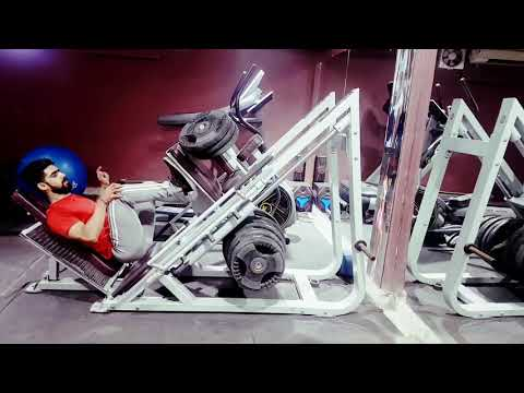 Gym workout leg press