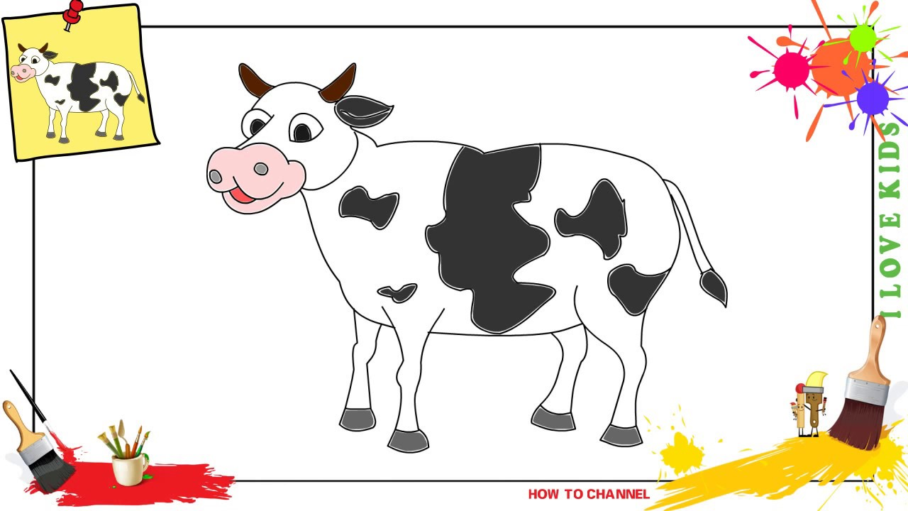 How To Draw A Cow 3 Simple Easy Slowly Step By Step For Kids
