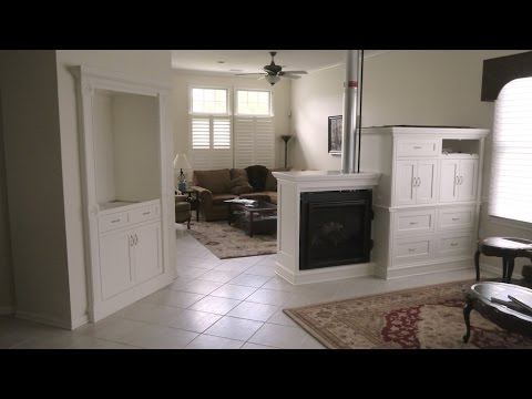 how to build a custom hutch and entertainment center with a built in double sided fireplace. Black Bedroom Furniture Sets. Home Design Ideas