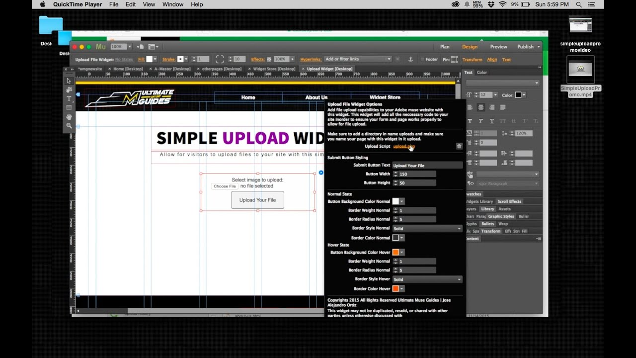 How to create an upload form in adobe muse