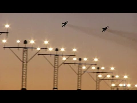 Two MIG-29 jet fighters make low pass over EPGD airport (Gdańsk, Poland)
