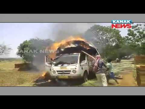 Straw Loaded Vehicle Catches Fire In Nabarangpur