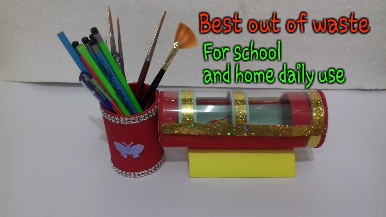 How to make pen pencil stand at home pencil case for Waste material video