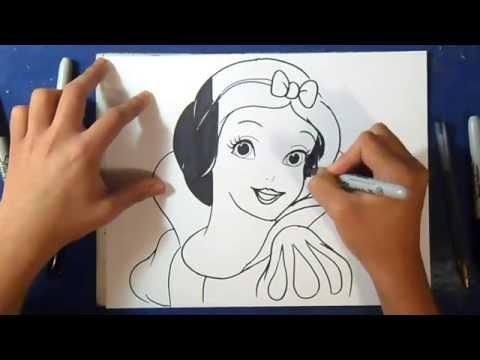 """""""Fácil"""" Como desenhar o Branca De Neve - Disney"""