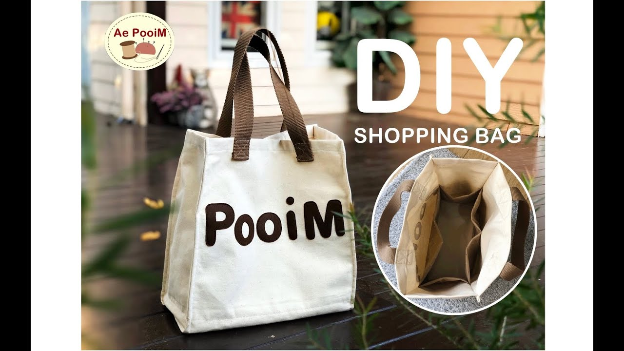 DIY SHOPPING BAG WITH USEFUL POCKET INSIDE // วิธีทำกระเป๋าช้อปปิ้งพร้อมช่องเยอะๆ ด้านใน