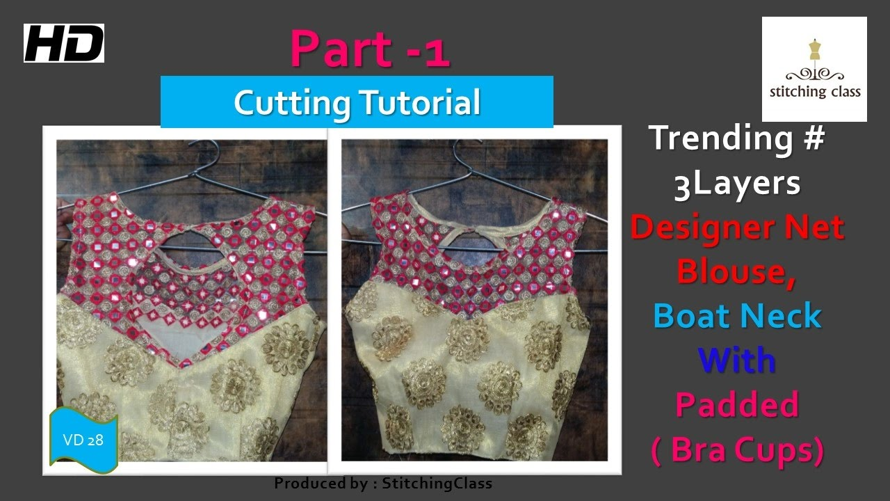 1122f26e10d Designer Net Blouse Boat Neck with Bra Cups (Padded) Cutting DIY ...