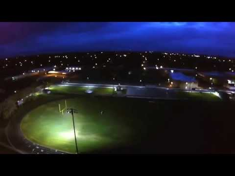 Quadcopter Footage of LED Light Test at Blackfoot High School Football Field