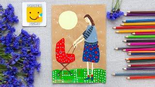 МАМА/ Как нарисовать МАМУ поэтапно гуашью - урок рисования для детей