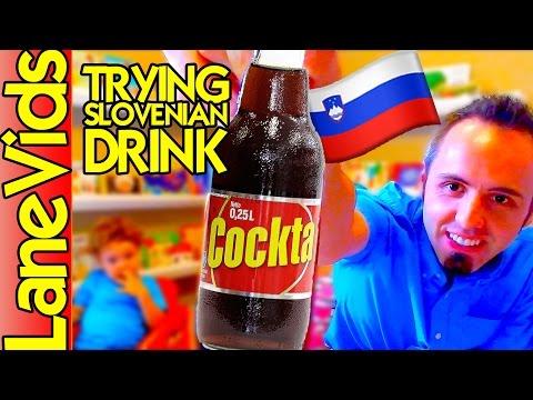 🇺🇸 AMERICANS TRY SLOVENIAN FOOD 🇸🇮   Taste Test Slovenian Drink - Cockta Review   LaneVids