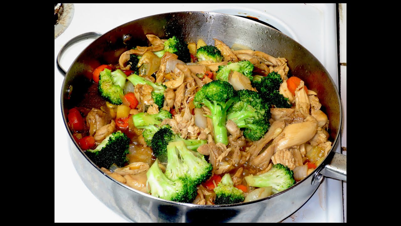 pollo con brocoli rica comida china youtube