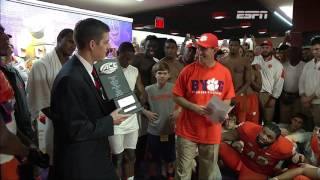 Dabo Swinney and Clemson Tigers presented with ACC Atlantic Division Championship trophy