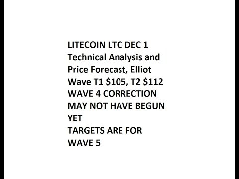 LITECOIN LTC DEC 1 Technical Analysis and Price Forecast, Elliot Wave T1 $105, T2 $112