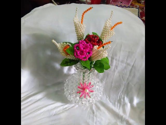 Beaded Bag || Showpice || putir kaj || ????? ?? || kivabe mobile bag banai ||  pen holder with beads