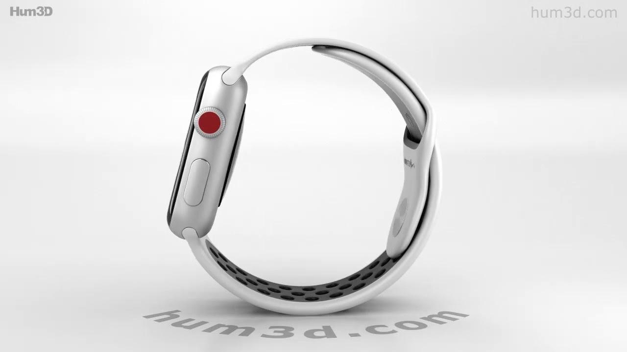 4610ef4cf Apple Watch Series 3 Nike+ 42mm Silver Case Pure Platinum Black Sport Band  3D model by Hum3D.com