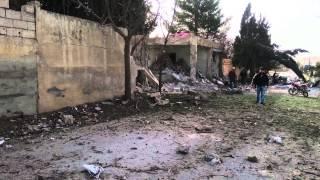 يبرود - القلمون : آثار الدمار جراء سقوط صواريخ من المروحية على منازل المدنيين 2/3/2014